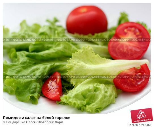 Помидор и салат на белой тарелке, фото № 299461, снято 7 мая 2008 г. (c) Бондаренко Олеся / Фотобанк Лори