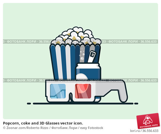 Popcorn, coke and 3D Glasses vector icon. Стоковое фото, фотограф Zoonar.com/Roberto Rizzo / easy Fotostock / Фотобанк Лори