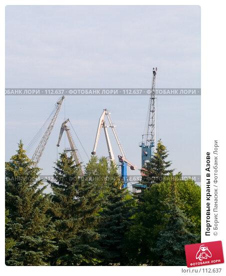 Портовые краны в Азове, фото № 112637, снято 12 июня 2006 г. (c) Борис Панасюк / Фотобанк Лори