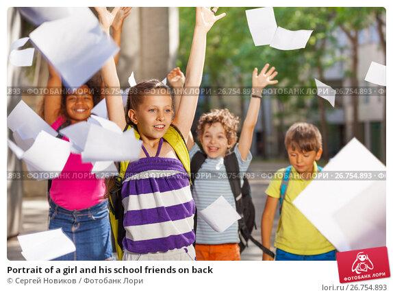 Portrait of a girl and his school friends on back, фото № 26754893, снято 17 июня 2017 г. (c) Сергей Новиков / Фотобанк Лори