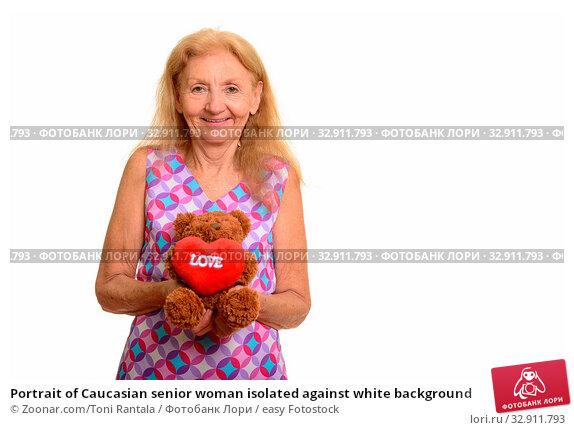 Portrait of Caucasian senior woman isolated against white background. Стоковое фото, фотограф Zoonar.com/Toni Rantala / easy Fotostock / Фотобанк Лори