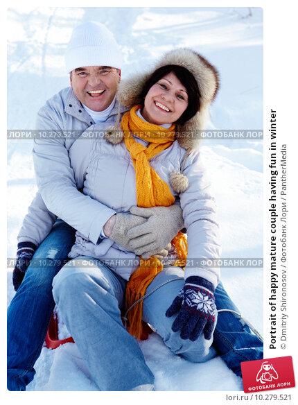 Купить «Portrait of happy mature couple having fun in winter», фото № 10279521, снято 16 апреля 2018 г. (c) PantherMedia / Фотобанк Лори