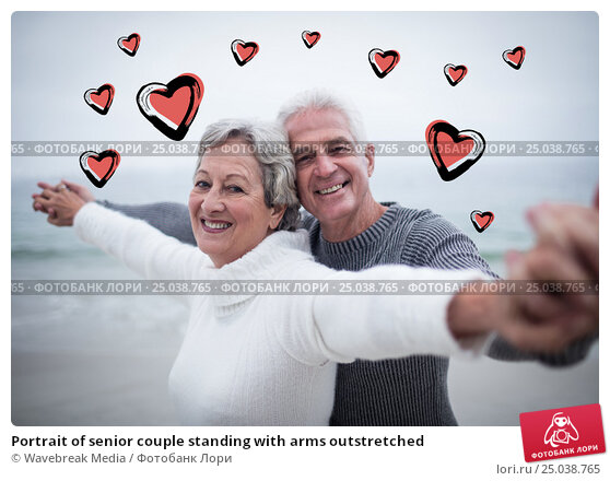 Купить «Portrait of senior couple standing with arms outstretched», фото № 25038765, снято 23 марта 2019 г. (c) Wavebreak Media / Фотобанк Лори