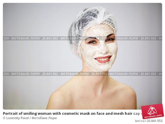 Купить «Portrait of smiling woman with cosmetic mask on face and mesh hair cap on head», фото № 25841553, снято 1 марта 2015 г. (c) Losevsky Pavel / Фотобанк Лори