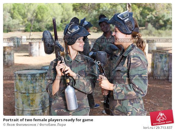 Купить «Portrait of two female players ready for game», фото № 29713837, снято 11 августа 2018 г. (c) Яков Филимонов / Фотобанк Лори