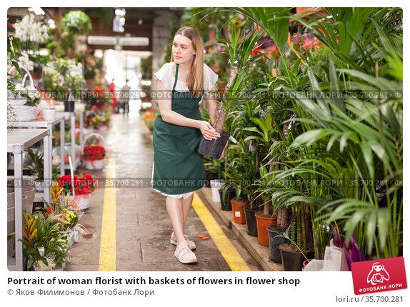 Portrait of woman florist with baskets of flowers in flower shop. Стоковое фото, фотограф Яков Филимонов / Фотобанк Лори