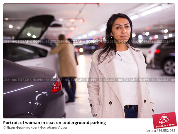 Portrait of woman in coat on underground parking. Стоковое фото, фотограф Яков Филимонов / Фотобанк Лори