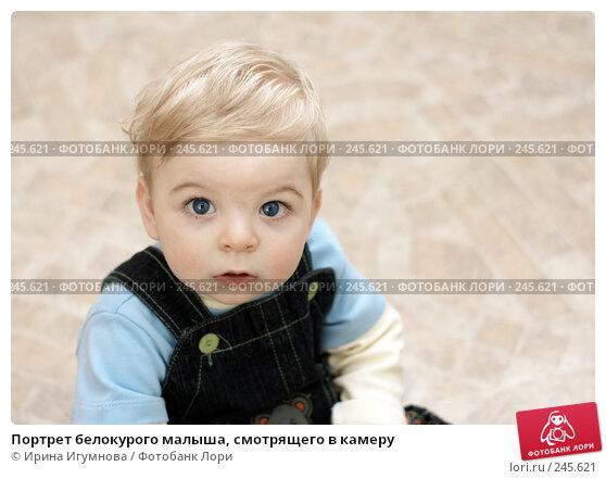 Портрет белокурого малыша, смотрящего в камеру, фото № 245621, снято 15 марта 2008 г. (c) Ирина Игумнова / Фотобанк Лори