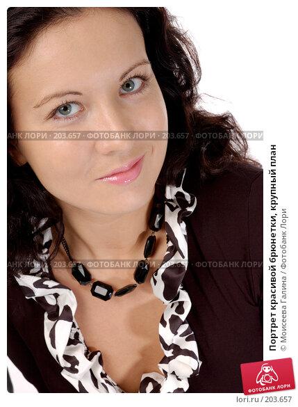 Купить «Портрет красивой брюнетки, крупный план», фото № 203657, снято 15 декабря 2007 г. (c) Моисеева Галина / Фотобанк Лори