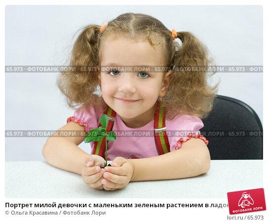 Портрет милой девочки с маленьким зеленым растением в ладонях, фото № 65973, снято 28 июля 2007 г. (c) Ольга Красавина / Фотобанк Лори