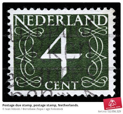 Postage due stamp, postage stamp, Netherlands. (2010 год). Редакционное фото, фотограф Ivan Vdovin / age Fotostock / Фотобанк Лори