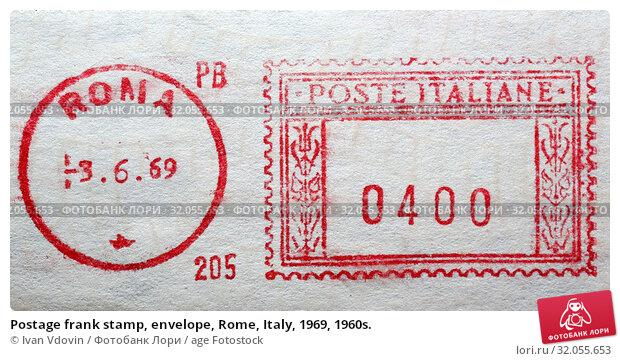 Postage frank stamp, envelope, Rome, Italy, 1969, 1960s. (2015 год). Редакционное фото, фотограф Ivan Vdovin / age Fotostock / Фотобанк Лори