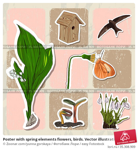 Poster with spring elements fiowers, birds. Vector illustration EPS10. Стоковое фото, фотограф Zoonar.com/yunna gorskaya / easy Fotostock / Фотобанк Лори