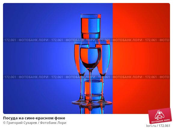 Посуда на сине-красном фоне, фото № 172061, снято 13 января 2007 г. (c) Григорий Сухарев / Фотобанк Лори