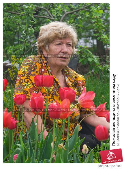 Купить «Пожилая женщина в весеннем саду», фото № 133109, снято 27 мая 2007 г. (c) Галина Ермолаева / Фотобанк Лори