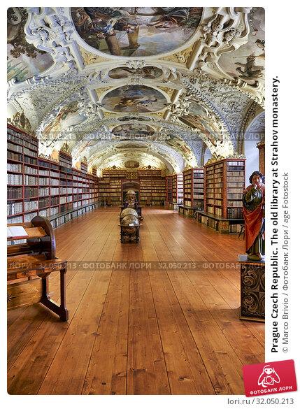 Prague Czech Republic. The old library at Strahov monastery. Стоковое фото, фотограф Marco Brivio / age Fotostock / Фотобанк Лори