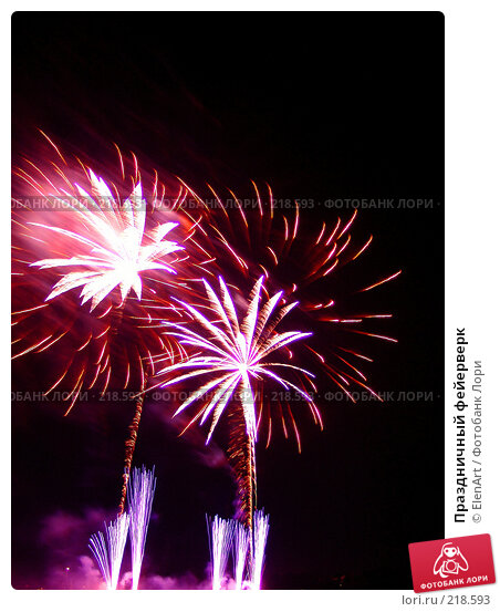 Праздничный фейерверк, фото № 218593, снято 24 января 2017 г. (c) ElenArt / Фотобанк Лори