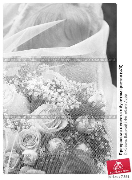 Прекрасная невеста с букетом цветов (ч/б), фото № 7861, снято 2 декабря 2016 г. (c) Коваль Василий / Фотобанк Лори