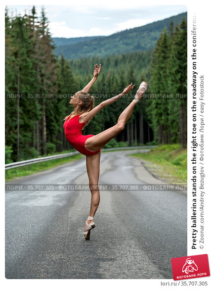 Pretty ballerina stands on the right toe on the roadway on the coniferous... Стоковое фото, фотограф Zoonar.com/Andrey Bezuglov / easy Fotostock / Фотобанк Лори