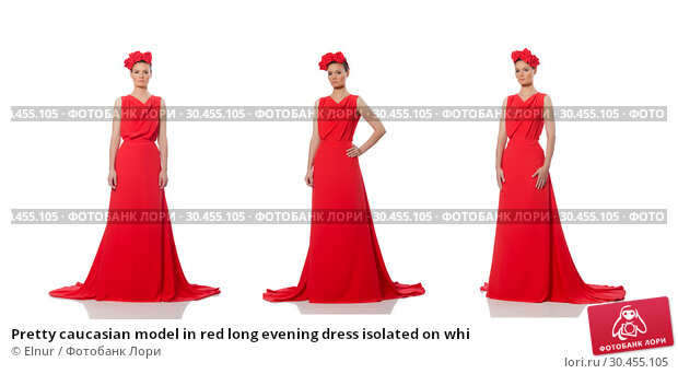 Pretty caucasian model in red long evening dress isolated on whi. Стоковое фото, фотограф Elnur / Фотобанк Лори