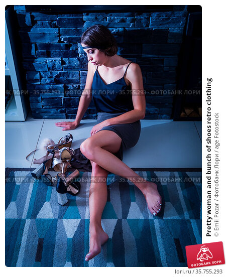Pretty woman and bunch of shoes retro clothing. Стоковое фото, фотограф Emil Pozar / age Fotostock / Фотобанк Лори