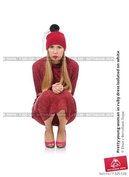 Купить «Pretty young woman in ruby dress isolated on white», фото № 7325129, снято 17 декабря 2014 г. (c) Elnur / Фотобанк Лори