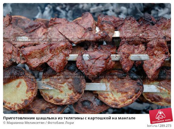 Приготовление шашлыка из телятины с картошкой на мангале, фото № 289273, снято 12 апреля 2007 г. (c) Марианна Меликсетян / Фотобанк Лори