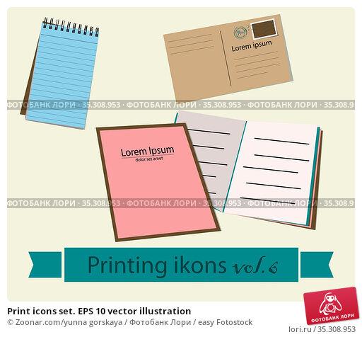 Print icons set. EPS 10 vector illustration. Стоковое фото, фотограф Zoonar.com/yunna gorskaya / easy Fotostock / Фотобанк Лори