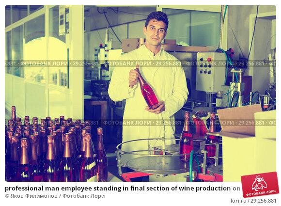 Купить «professional man employee standing in final section of wine production on factory», фото № 29256881, снято 21 сентября 2016 г. (c) Яков Филимонов / Фотобанк Лори