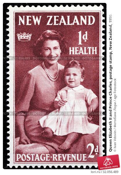 Queen Elizabeth II and Prince Charles, postage stamp, New Zealand, 1950. (2013 год). Редакционное фото, фотограф Ivan Vdovin / age Fotostock / Фотобанк Лори