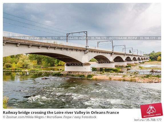 Railway bridge crossing the Loire river Valley in Orleans France. Стоковое фото, фотограф Zoonar.com/Hilda Weges / easy Fotostock / Фотобанк Лори
