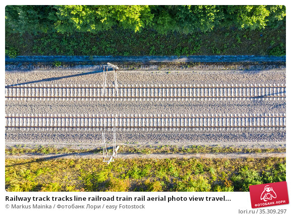 Railway track tracks line railroad train rail aerial photo view travel... Стоковое фото, фотограф Markus Mainka / easy Fotostock / Фотобанк Лори