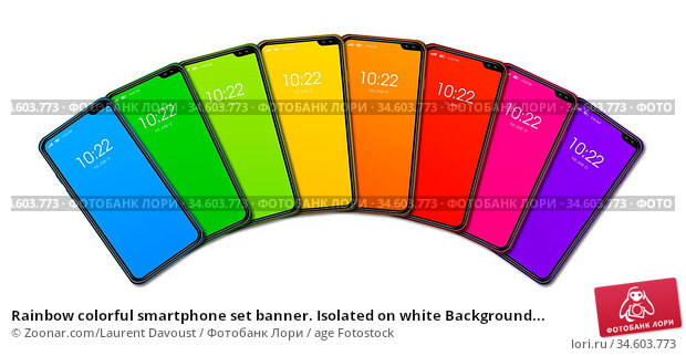 Rainbow colorful smartphone set banner. Isolated on white Background... Стоковое фото, фотограф Zoonar.com/Laurent Davoust / age Fotostock / Фотобанк Лори