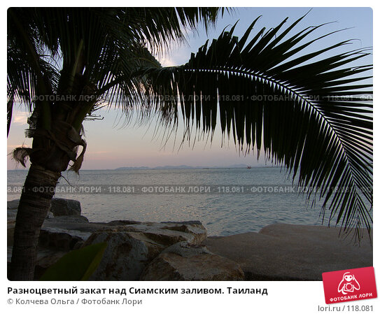 Купить «Разноцветный закат над сиамским заливом.Тайланд», фото № 118081, снято 1 апреля 2007 г. (c) Колчева Ольга / Фотобанк Лори