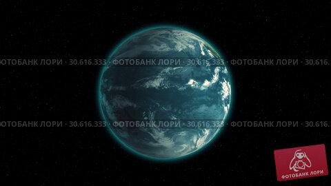 Купить «Realistic Earth Rotating on black space background with stars Loop . Globe is centered in frame, with correct rotation in seamless loop.», видеоролик № 30616333, снято 4 ноября 2016 г. (c) Uladzimir Sitkouski / Фотобанк Лори