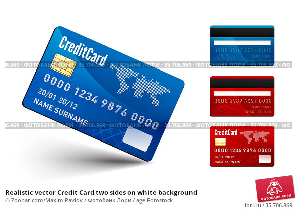 Realistic vector Credit Card two sides on white background. Стоковое фото, фотограф Zoonar.com/Maxim Pavlov / age Fotostock / Фотобанк Лори
