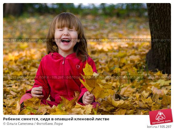 Ребенок смеется, сидя в опавшей кленовой листве, фото № 105297, снято 26 июля 2017 г. (c) Ольга Сапегина / Фотобанк Лори