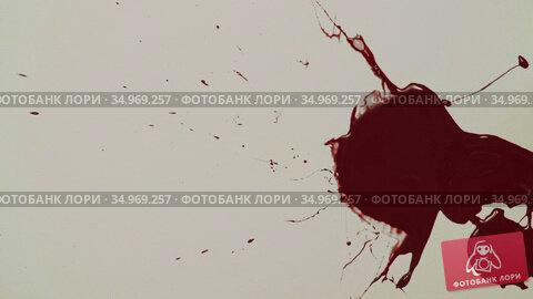 Red blood drips on the white paper. Стоковое видео, видеограф Dzmitry Astapkovich / Фотобанк Лори