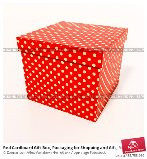 Red Cardboard Gift Box, Packaging for Shopping and Gift, Red Christmas... Стоковое фото, фотограф Zoonar.com/Alex Varlakov / age Fotostock / Фотобанк Лори