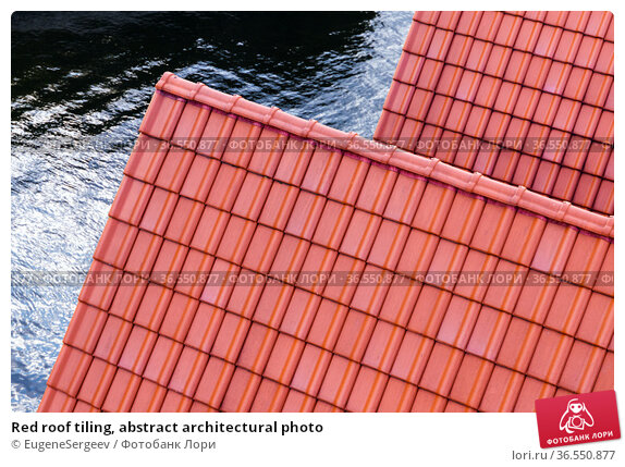Red roof tiling, abstract architectural photo. Стоковое фото, фотограф EugeneSergeev / Фотобанк Лори