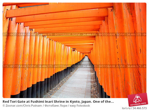 Red Tori Gate at Fushimi Inari Shrine in Kyoto, Japan. One of the... Стоковое фото, фотограф Zoonar.com/Chris Putnam / easy Fotostock / Фотобанк Лори