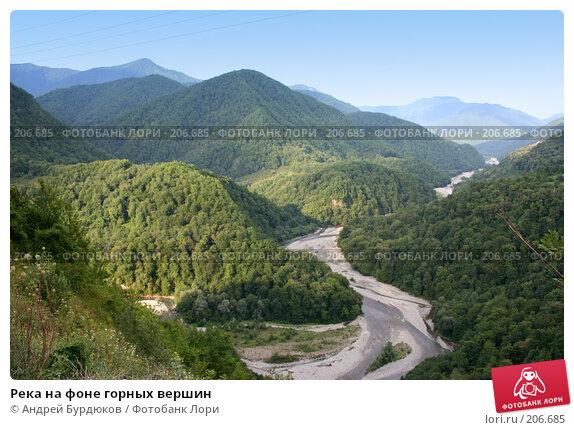 Река на фоне горных вершин, фото № 206685, снято 9 августа 2007 г. (c) Андрей Бурдюков / Фотобанк Лори