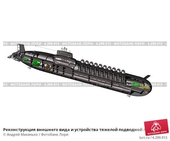 Купить «Реконструкция внешнего вида и устройства тяжелой подводной лодки (тяжёлого ракетного подводного крейсера стратегического назначения ТРПКСН)», иллюстрация № 4299913 (c) Андрей Маханько / Фотобанк Лори