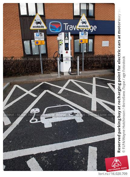 Купить «Reserved parking bay at recharging point for electric cars at motorway service area, England, April», фото № 16020709, снято 22 февраля 2020 г. (c) age Fotostock / Фотобанк Лори