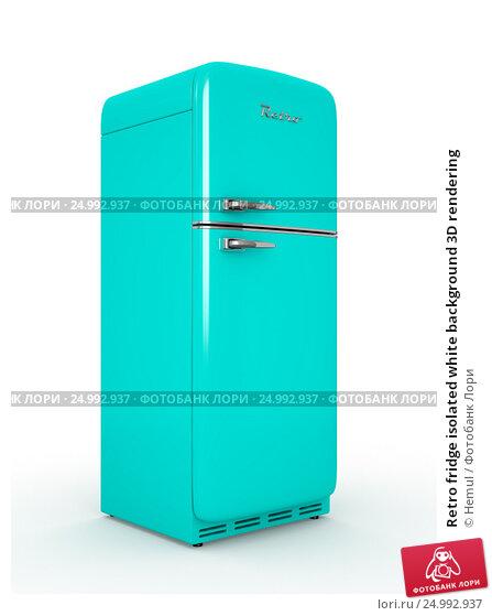 Купить «Retro fridge isolated white background 3D rendering», иллюстрация № 24992937 (c) Hemul / Фотобанк Лори