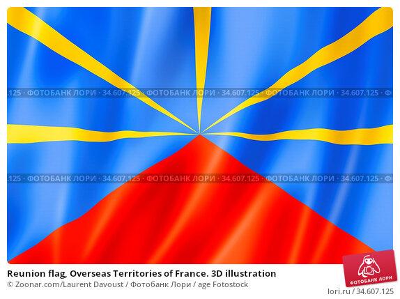Reunion flag, Overseas Territories of France. 3D illustration. Стоковое фото, фотограф Zoonar.com/Laurent Davoust / age Fotostock / Фотобанк Лори