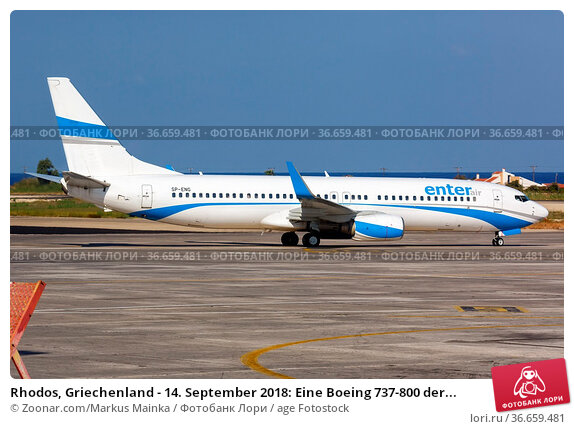 Rhodos, Griechenland - 14. September 2018: Eine Boeing 737-800 der... Стоковое фото, фотограф Zoonar.com/Markus Mainka / age Fotostock / Фотобанк Лори