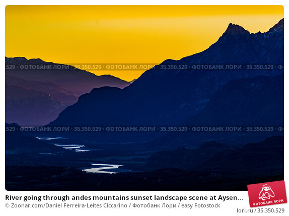 River going through andes mountains sunset landscape scene at Aysen... Стоковое фото, фотограф Zoonar.com/Daniel Ferreira-Leites Ciccarino / easy Fotostock / Фотобанк Лори
