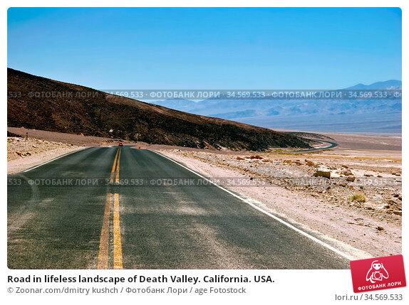Road in lifeless landscape of Death Valley. California. USA. Стоковое фото, фотограф Zoonar.com/dmitry kushch / age Fotostock / Фотобанк Лори