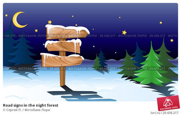 Купить «Road signs in the night forest», иллюстрация № 29438217 (c) Сергей П. / Фотобанк Лори